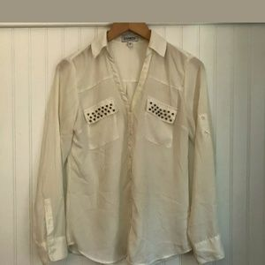 Express Portafino blouse shirt top tab sleeves S